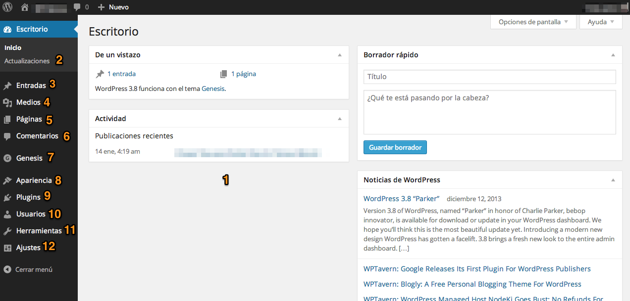 administra wordpress